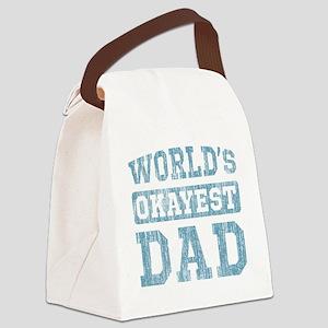World's Okayest Dad [v. blue] Canvas Lunch Bag